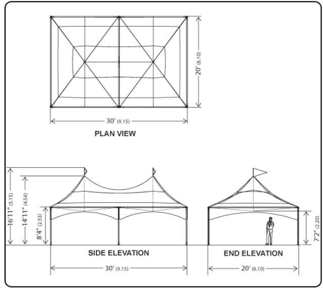 Tent High Peak 20 Foot X30 Foot Installed Rentals Omaha Ne